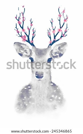 Watercolor deer head / T-shirt Graphics / soft watercolor illustration of deer  - stock photo