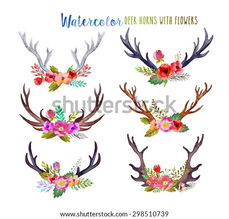 Watercolor deer horns with flowers. - stock photo