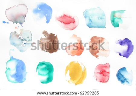 watercolor design shapes on white background - stock photo