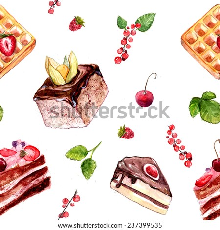 Watercolor desserts seamless pattern with cakes, red currant and cherries. Food background with cafe assortment. - stock photo