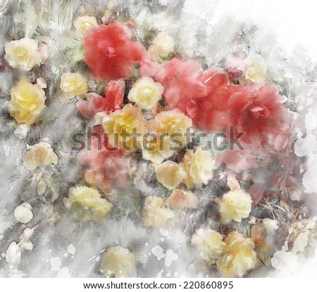 Watercolor Digital Painting Of  Begonia Flowers - stock photo