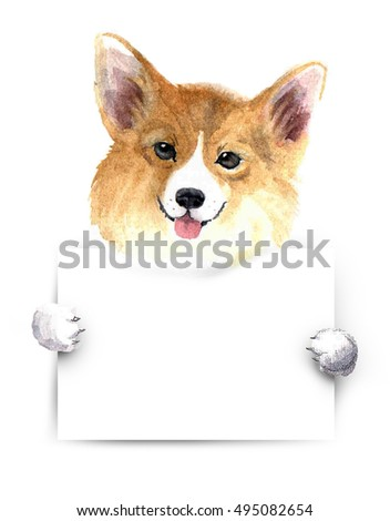 Watercolor dog placard welsh corgi above stock illustration watercolor dog with placard welsh corgi above white banner template for gift certificate yadclub Images