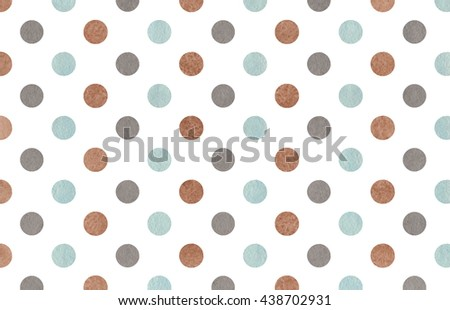 Watercolor dots in brown, gray and blue color. Watercolor brown, gray and blue polka dot background. Texture with colorful polka dots for scrapbooks, wedding, party or baby shower invitations.