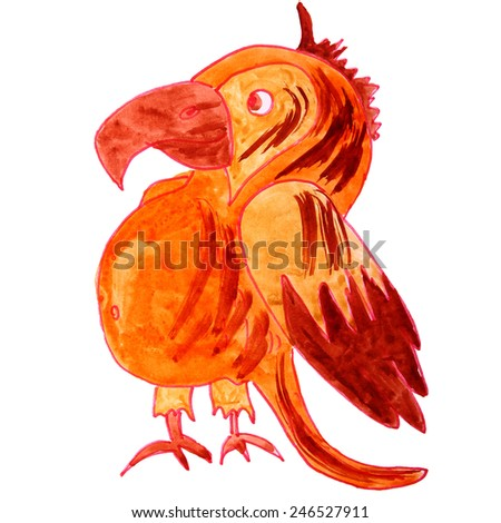 watercolor drawing a children cartoon parrot on a white background - stock photo