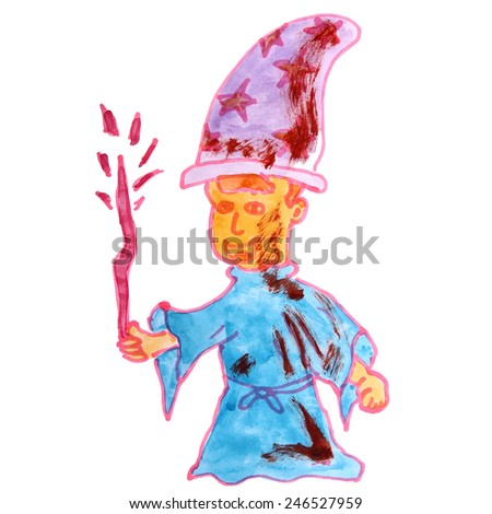 watercolor drawing a children cartoon wizard on a white background - stock photo