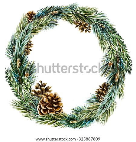 watercolor drawing isolated Christmas wreath with fir, pine cones, frame plant - stock photo