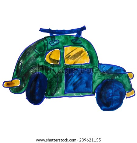 watercolor drawing kids cartoon car on a white background - stock photo