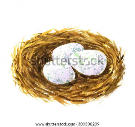 watercolor drawing nest with eggs, hand drawn artistic painting illustration, symbol of Easter - stock photo