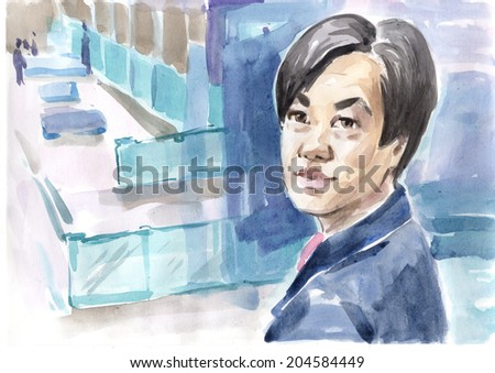 Watercolor drawing paining face portrait of abstract japanese korean businessman factory plant workshop warehouse interior. High resolution conceptual watercolor collection. Concept of global business - stock photo