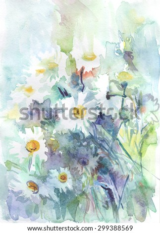 watercolor drawing - white daisies on a blue and green background, beautiful bouquet, painting
