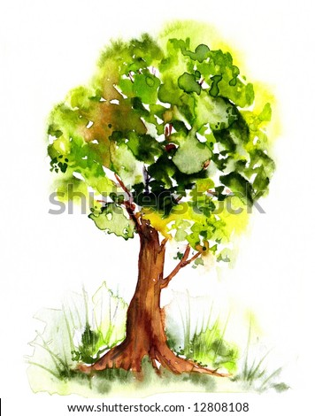 Watercolor drawn illustration of a peaceful tree in beautyful green tones on white. Art ist created and painted by photographer. - stock photo