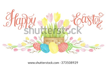 Watercolor Easter basket with eggs and happy Easter letter on white background. - stock photo