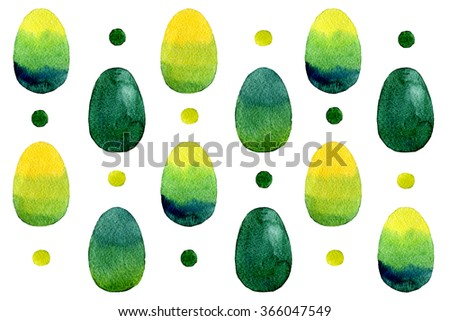 Watercolor Easter egg.Isolated on white - stock photo