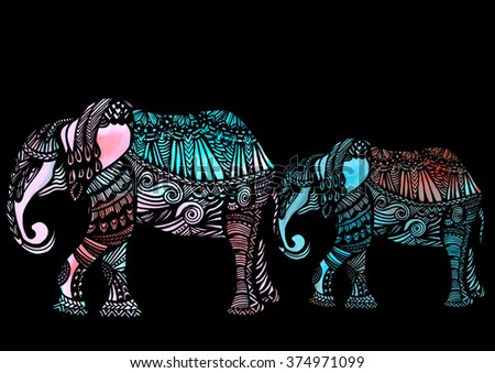 watercolor elephants in the ethnic style