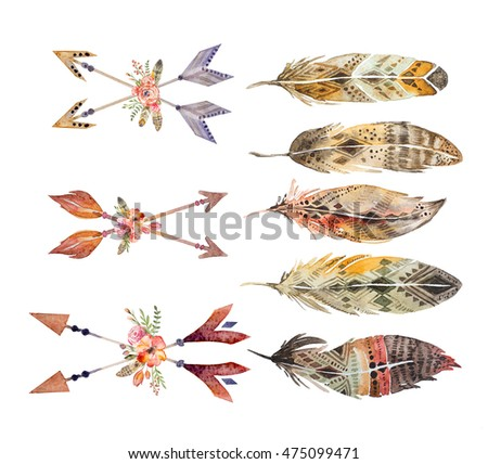 Watercolor ethnic set of arrows, flowers and feathers in native American style.Tribal Navajo isolated illustration ornament, white background. Indian, Peru, Aztec wrapping.