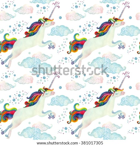 Watercolor fairy tale collection with flying unicorn, rainbow, magic clouds and rain on white background. Hand painted fairy tale elements for kids, children design - stock photo