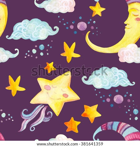 Watercolor fairy tale seamless pattern with magic sun, moon, cute little star and fairy clouds on purple background. Hand painted illustration for kids, children design