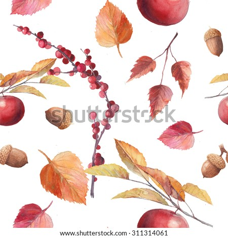 Watercolor fall seamless pattern. Hand drawn autumn texture with leaves, branches, berries, acorns, apple tree element on white background. Natural raster wallpaper - stock photo