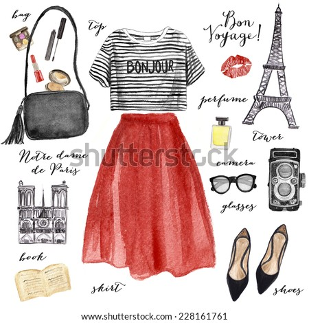 Watercolor fashion illustration. Paris style outfit. - stock photo