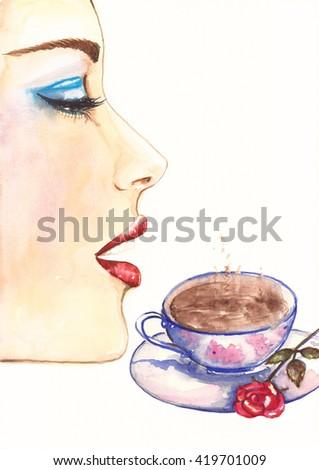 Watercolor fashion portrait of beautiful woman. Fashion girl with stylish make up. Handmade painting, hand drawn illustration art. Beauty and cosmetics. - stock photo