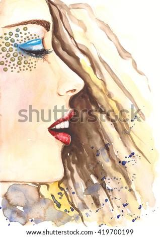 Watercolor fashion portrait of beautiful woman with diamond golden eyeshadow. Fashion girl with stylish make up. Handmade painting, hand drawn illustration art. Beauty and cosmetics. - stock photo