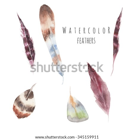 Watercolor feathers collection. Hand drawn artistic multicolor feather set isolated on white background. Six various bird feathers, raster illustrations - stock photo