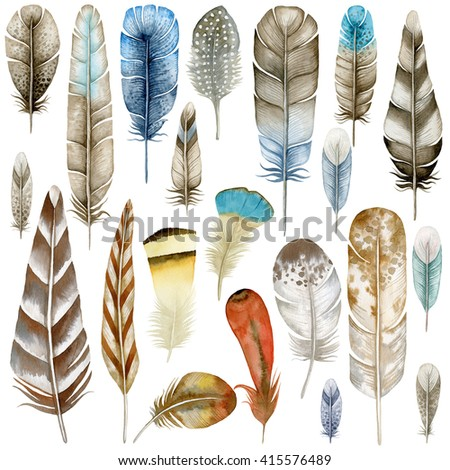Watercolor feathers. Ethnic feathers. Watercolor clipart - stock photo