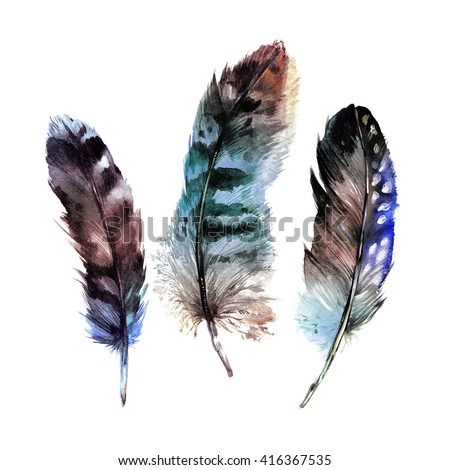 Watercolor Feathers Set. Hand drawn illustration in boho style. Rustic design elements for wedding invitation, greeting card and t-shirt. Isolated on white background - stock photo