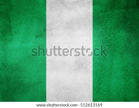 Watercolor flag background. Nigeria