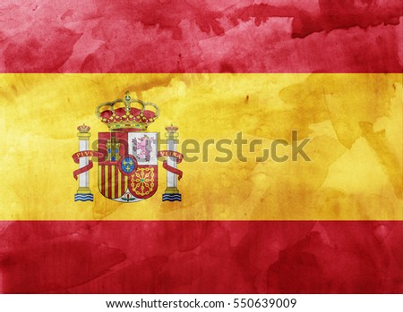Watercolor flag background. Spain