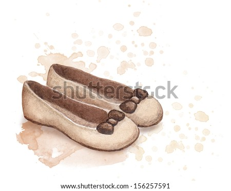 Watercolor flat shoes illustration - stock photo