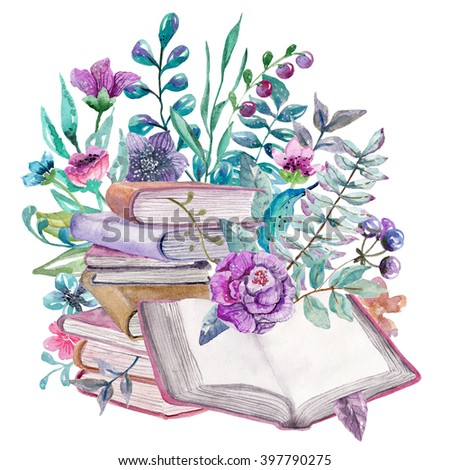 Watercolor floral and nature elements with beautiful old books, illustration for design, Beautiful card with watercolor flowers and books over white