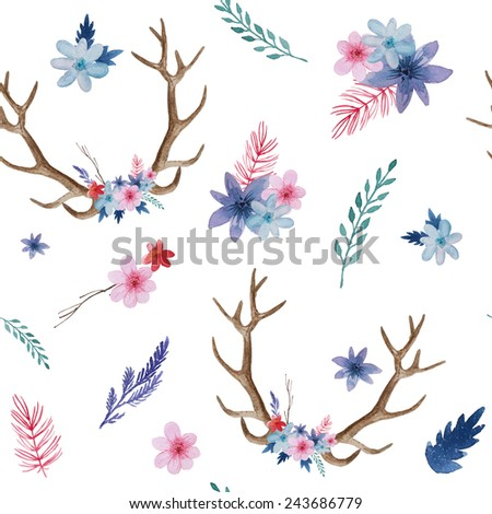 Watercolor floral antler pattern. Hand drawn vintage seamless texture with deer horns, flowers, leaves and herbs. Eco style hipster background - stock photo