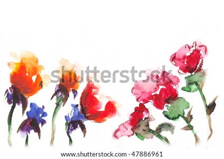 watercolor   floral background - stock photo