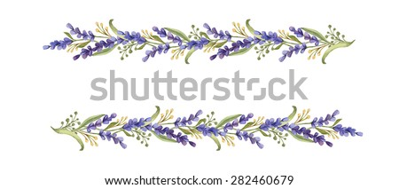Watercolor floral borders of lavender flowers and leaves isolated on white background - stock photo