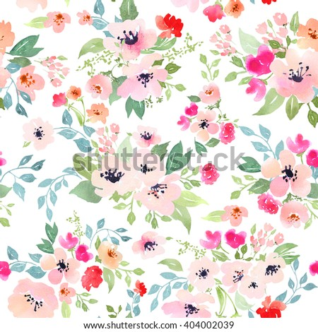 Watercolor floral botanical pattern and seamless background. Ideal for printing onto fabric and paper or scrap booking. Hand painted. Raster illustration. Clipping path included. Fast isolation.