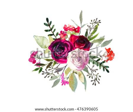 Watercolor Floral Bouquet Purple Burgundy Roses Stock ...
