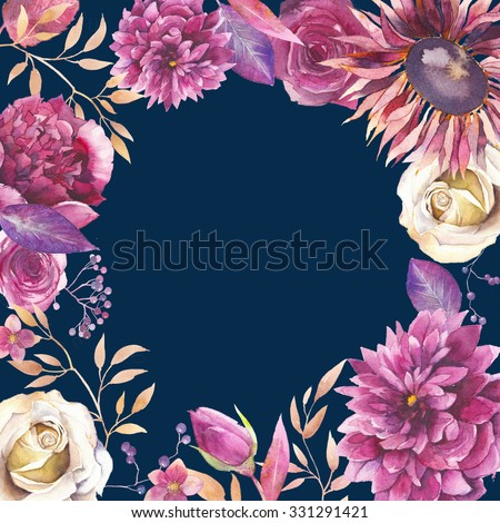 Watercolor floral card background. Hand drawn vintage round frame with various flowers in marsala and gold colors. Peony, roses, branches, leaves, berries, hellebore, dahlia. Burgundy and pink plants - stock photo