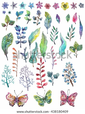 Watercolor floral collection, flowers, leaves and butterflies for beautiful design - stock photo