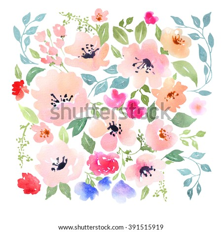 Watercolor floral composition. Clipping path included. Fast isolation. Hi-res file. Hand painted. Raster illustration.