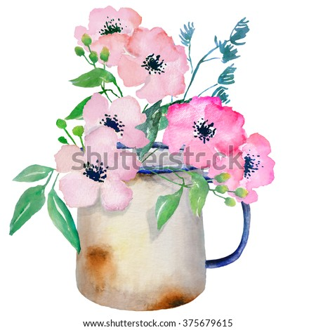 Watercolor floral composition. Jug with flowers. Clipping path included. Fast isolation. Hi-res file. Hand painted. Raster illustration.