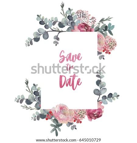 Watercolor Floral Frame Border Flower Illustration Stock Illustration 645010645 - Shutterstock