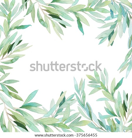 Watercolor floral frame card. Hand painted border with branches and leaves isolated on white background. Botanical frame design - stock photo
