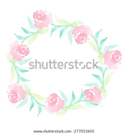 Watercolor floral frame of vintage pink rose flowers. It can be used for wedding invitation, card, postcard, banner, poster, mothers day, women day, birthday, newborn card. Raster illustration - stock photo