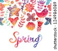 "Watercolor floral greeting card with ""Spring"" lettering. Vintage retro background with floral ornament You can design cards, notebook cover and so on. Spring theme background. - stock photo"