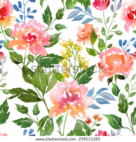 Watercolor floral pattern and seamless background. Work path included.  Ideal for printing onto fabric and paper or scrap booking. Hand painted. Raster illustration. - stock photo