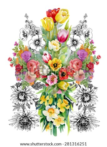 Watercolor floral pattern on white background with summer garden flowers