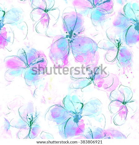Watercolor floral pattern,seamless. - stock photo