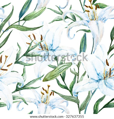 watercolor floral pattern with white lily, delicate wallpaper white background - stock photo