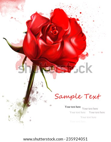 watercolor floral postcard with a picture of a red rose, the text for congratulations, for any holiday - stock photo